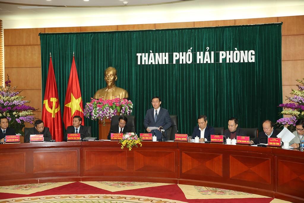 Phó Thủ tướng Vương Đình Huệ làm việc tại Hải Phòng. Ảnh VGP