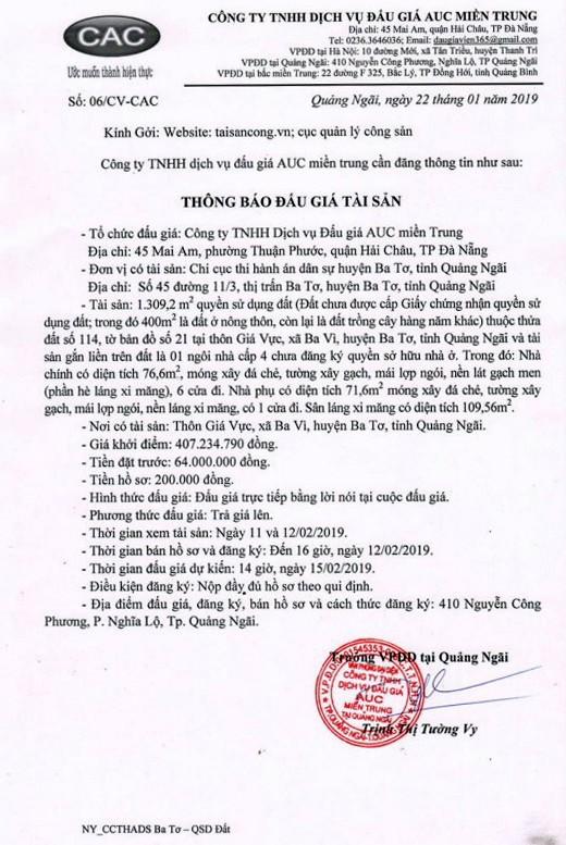 Ngày 15/2/2019, đấu giá quyền sử dụng đất tại huyện Ba Tơ, tỉnh Quảng Ngãi - ảnh 1