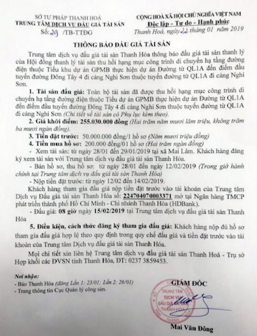 Ngày 15/2/2019, đấu giá tài sản thui hồi hạng mục công trình di chuyển tại tỉnh Thanh Hóa - ảnh 1