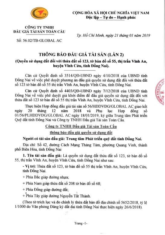 Ngày 28/2/2019, đấu giá quyền sử dụng đất tại huyện Vĩnh Cửu, tỉnh Đồng Nai - ảnh 1