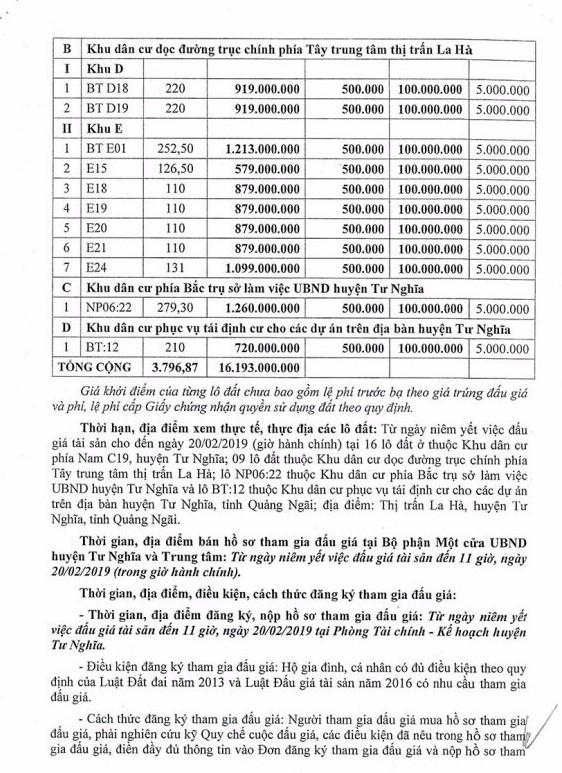 Ngày 23/2/2019, đấu giá quyền sử dụng 16 lô đất tại huyện Tư Nghĩa, tỉnh Quảng Ngãi - ảnh 2
