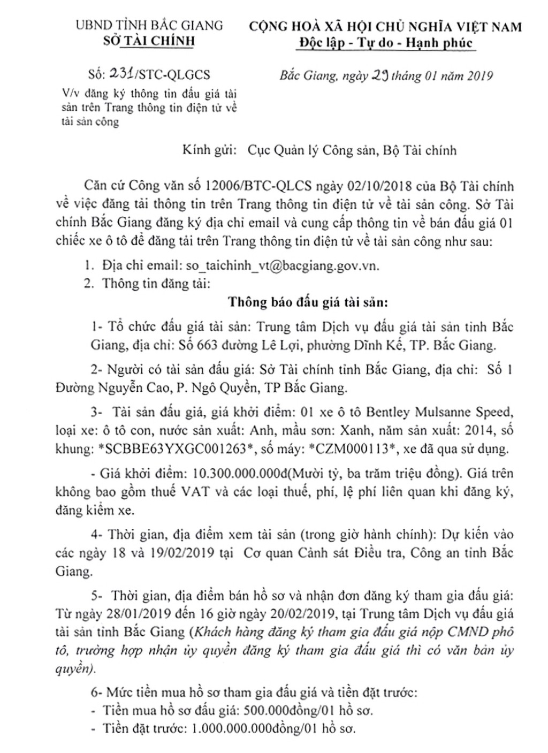 Ngày 22/2/2019, đấu giá xe ô tô Bentley tại tỉnh Bắc Giang - ảnh 1