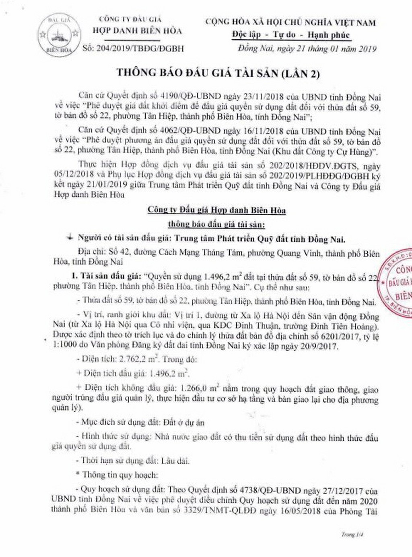 Ngày 28/2/2019, đấu giá quyền sử dụng đất tại thành phố Biên Hòa, tỉnh Đồng Nai - ảnh 1