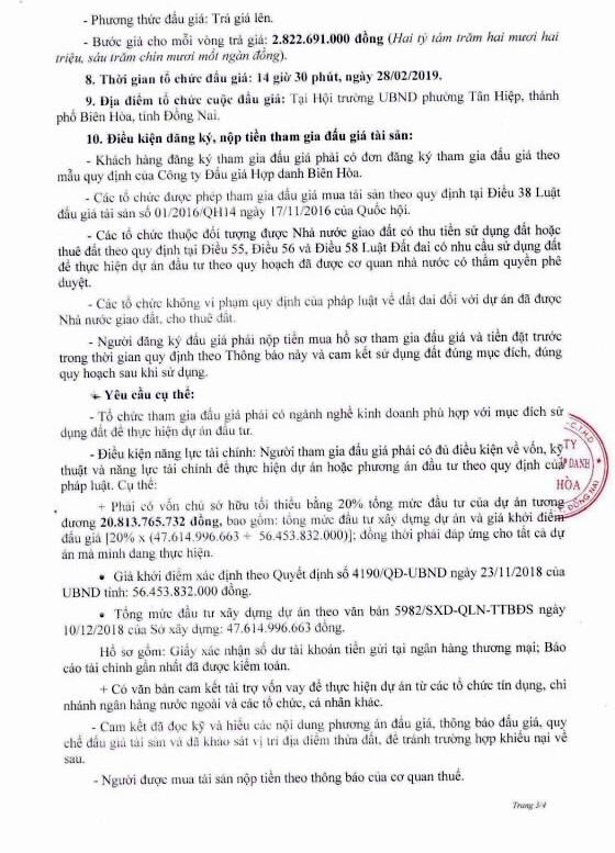 Ngày 28/2/2019, đấu giá quyền sử dụng đất tại thành phố Biên Hòa, tỉnh Đồng Nai - ảnh 3