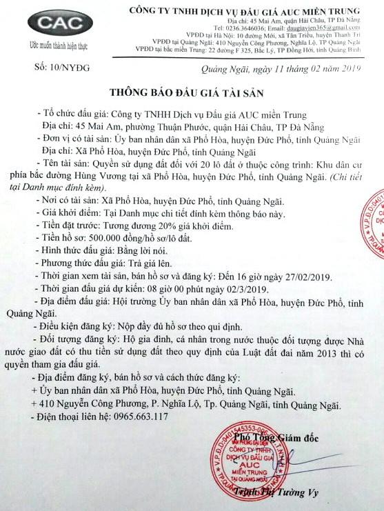 Ngày 2/03/2019, đấu giá quyền sử dụng 20 lô đất tại huyện Đức Phổ, tỉnh Quảng Ngãi - ảnh 1