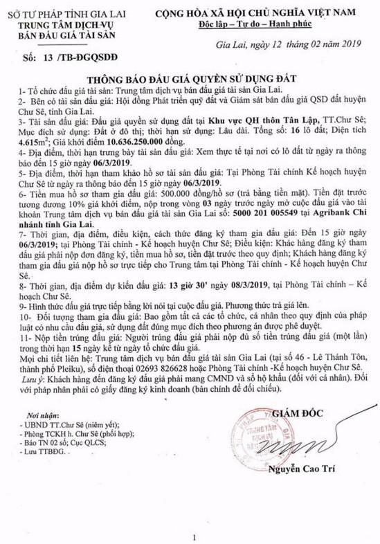 Ngày 8/3/2019, đấu giá quyền sử dụng đất tại huyện Chư Sê, tỉnh Gia Lai - ảnh 1
