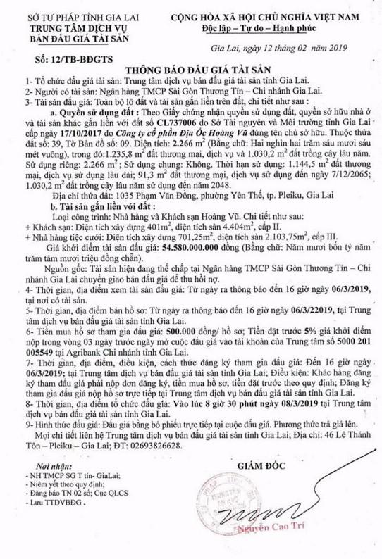 Ngày 8/3/2019, đấu giá quyền sử dụng đất, quyền sở hữu nhà và tài sản khác gắn liền với đất tại thành phố Pleiku, tỉnh Gia Lai - ảnh 1
