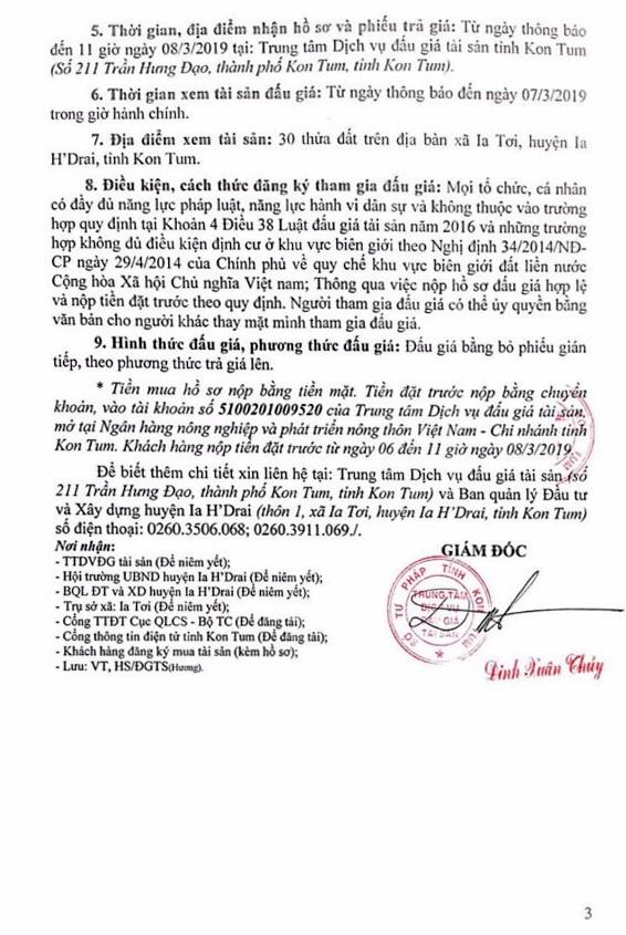 Ngày 11/3/2019, đấu giá quyền sử dụng 30 lô đất tại huyện Ia H'Drai, tỉnh Kon Tum - ảnh 3