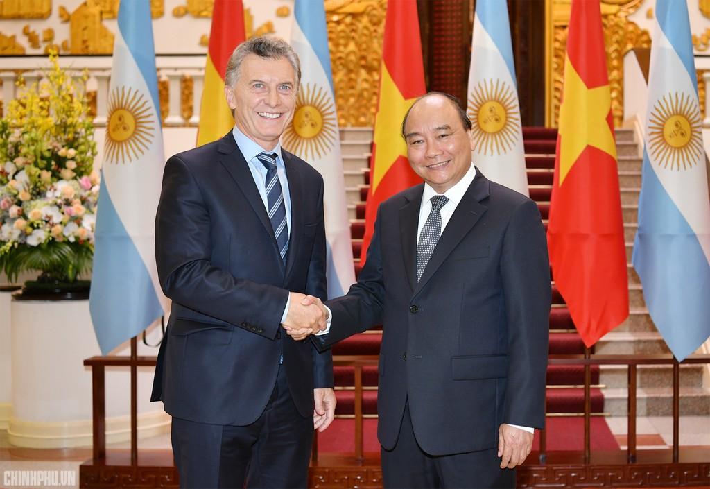 Thủ tướng Nguyễn Xuân Phúc và Tổng thống Mauricio Macri. Ảnh: VGP