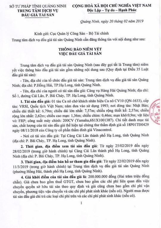 Ngày 14/3/2019, đấu giá cano chở khách tại tỉnh Quảng Ninh - ảnh 1