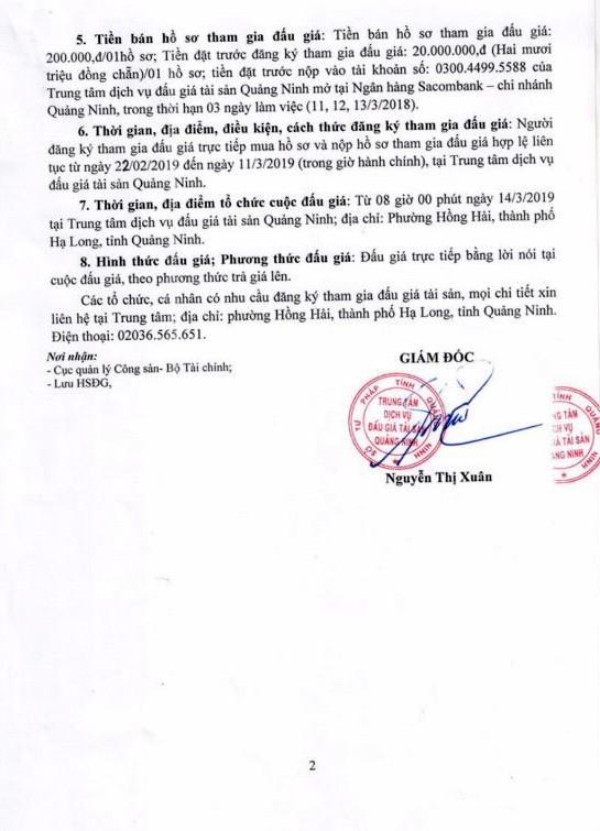 Ngày 14/3/2019, đấu giá cano chở khách tại tỉnh Quảng Ninh - ảnh 2