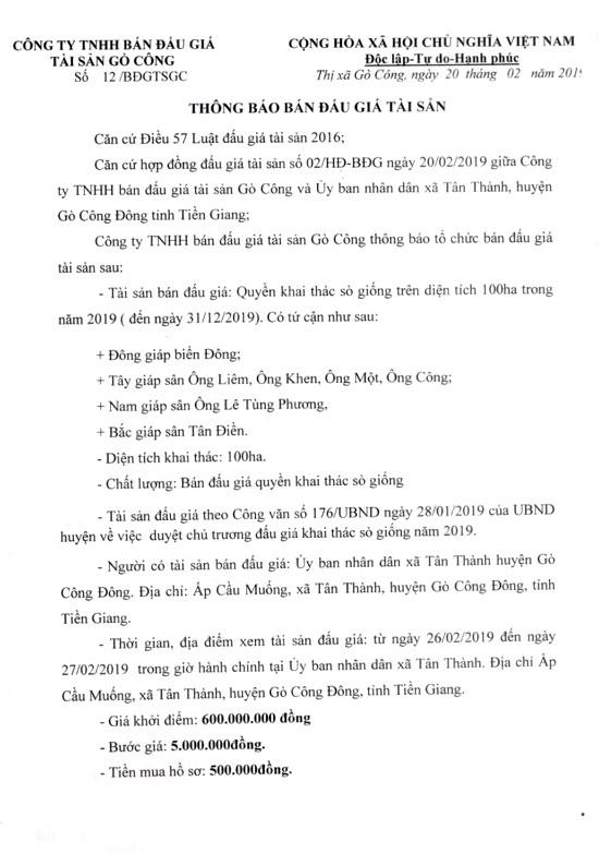 Ngày 14/3/2019, đấu giá quyền khai thác sò giống tại tỉnh Tiền Giang - ảnh 1