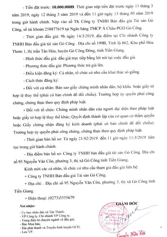 Ngày 14/3/2019, đấu giá quyền khai thác sò giống tại tỉnh Tiền Giang - ảnh 2