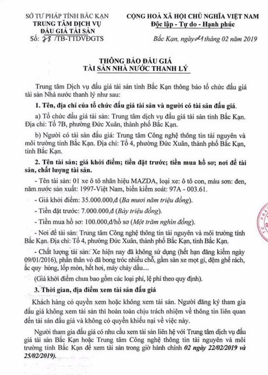 Ngày 14/3/2019, đấu giá xe ô tô Mazda tại tỉnh Bắc Kạn - ảnh 1
