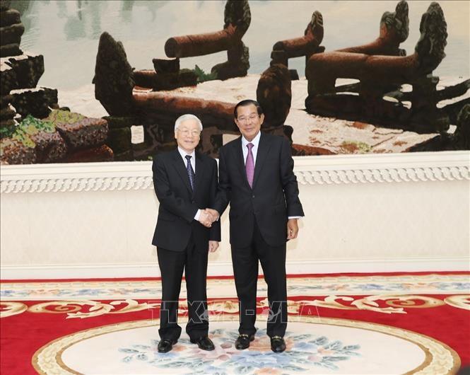 Thủ tướng Hun Sen bày tỏ vui mừng được đón Tổng Bí thư, Chủ tịch nước Nguyễn Phú Trọng thăm cấp Nhà nước Campuchia. Ảnh: TTXVN