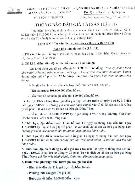 Ngày 14/3/2019, đấu giá giá trị 1.360.746 CP của Công ty Cổ phần Đầu tư xây dựng Toàn Thịnh Phát (tỉnh Đồng Nai) - ảnh 1