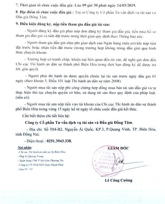 Ngày 14/3/2019, đấu giá giá trị 1.360.746 CP của Công ty Cổ phần Đầu tư xây dựng Toàn Thịnh Phát (tỉnh Đồng Nai) - ảnh 2