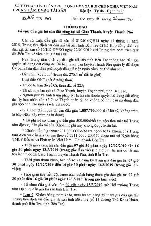 Ngày 15/3/2019, đấu giá quyền sử dụng đất tại huyện Thạch Phú, tỉnh Bến Tre - ảnh 1