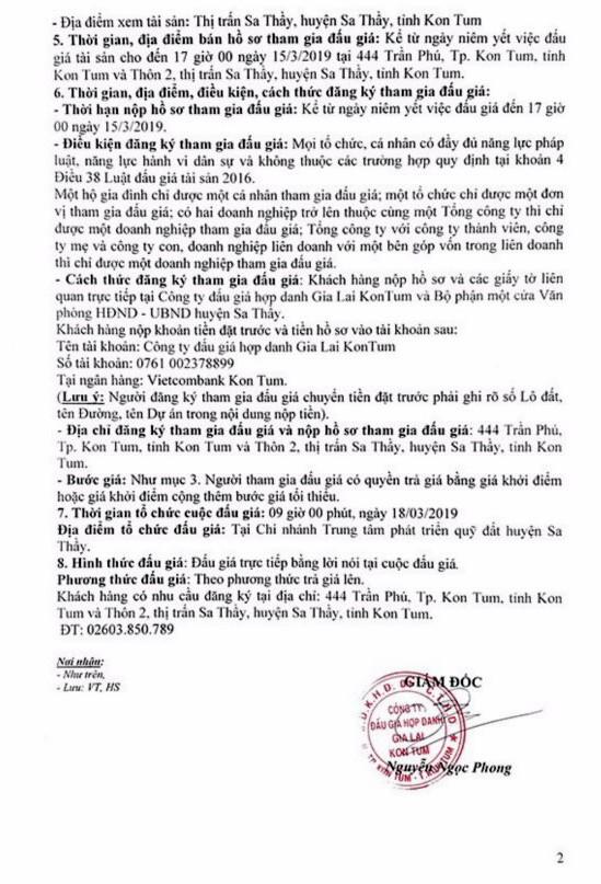 Ngày 18/3/2019, đấu giá quyền sử dụng 10 lô đất tại huyện Sa Thầy, tỉnh Kon Tum - ảnh 2