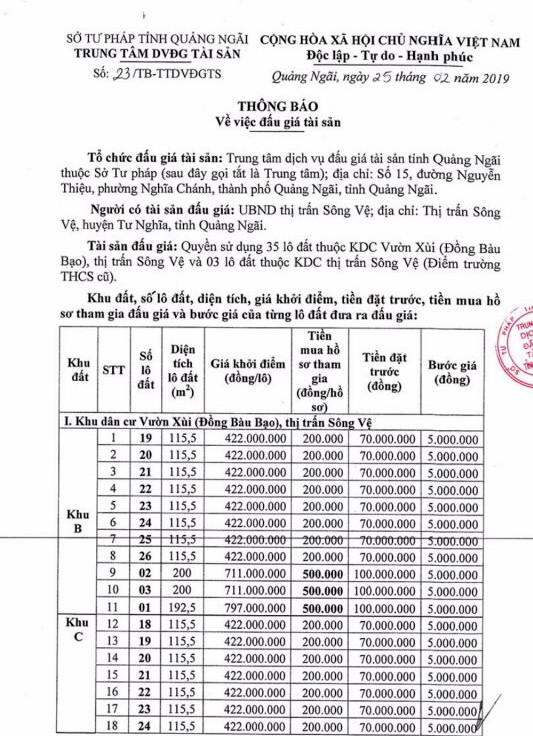 Ngày 18/3/2019, đấu giá quyền sử dụng đất tại huyện Tư Nghĩa, tỉnh Quảng Ngãi - ảnh 1