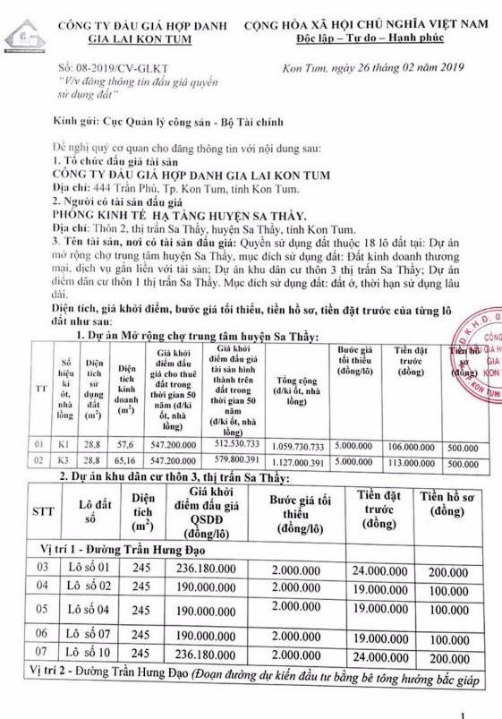 Ngày 22/3/2018, đấu giá quyền sử dụng 18 lô đất tại huyện Sa Thầy, tỉnh Kon Tum - ảnh 1