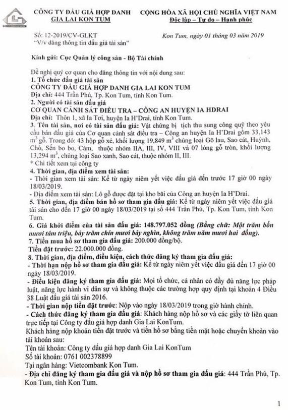 Ngày 21/3/2019, đấu giá vật chứng bị tịch thu sung công quỹ tại tỉnh Kon Tum - ảnh 1