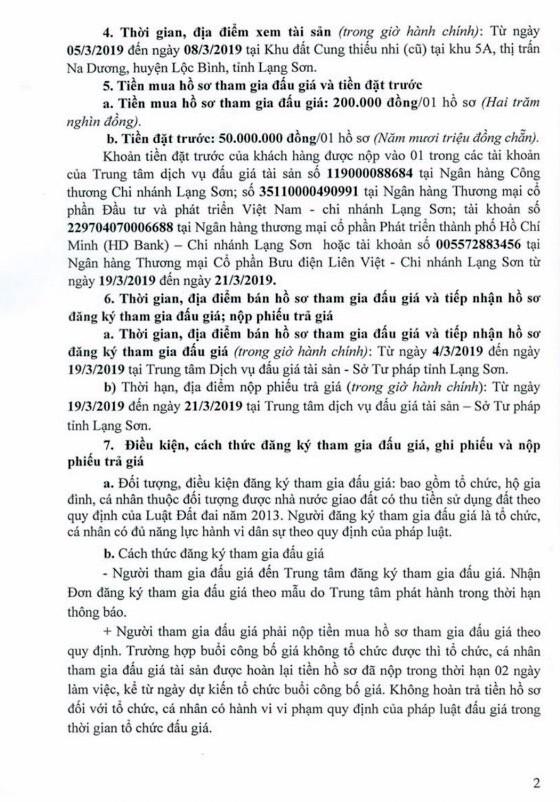Ngày 22/3/2019, đấu giá quyền sử dụng đất tại huyện Lộc Bình, tỉnh Lạng Sơn - ảnh 2