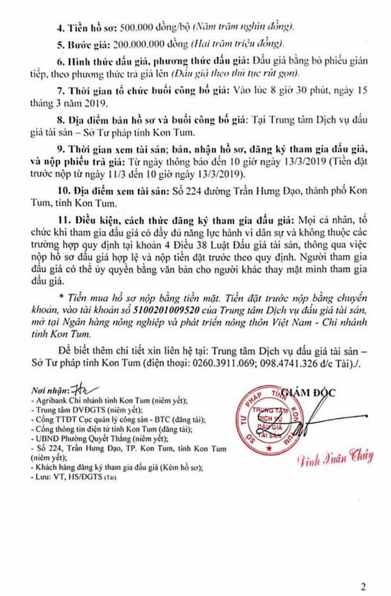 Ngày 15/3/2019, đấu giá quyền sử dụng đất và tài sản gắn liền với đất tại thành phố Kon Tum, tỉnh Kon Tum - ảnh 2