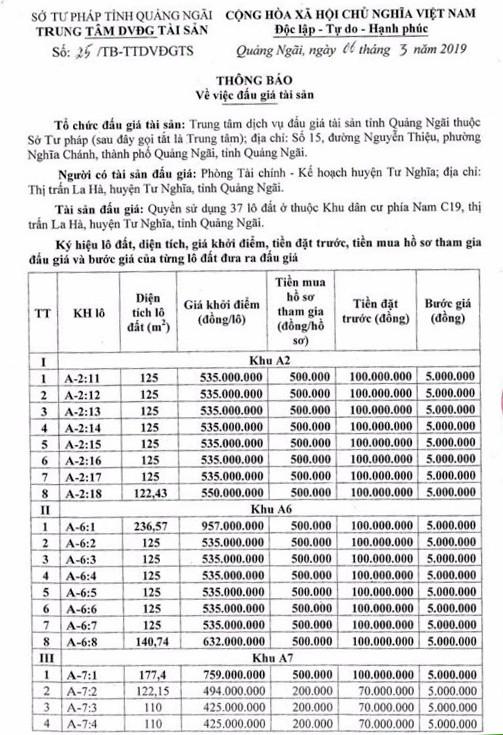 Ngày 30/3/2019, đấu giá quyền sử dụng 37 lô đất tại huyện Tư Nghĩa, tỉnh Quảng Ngãi - ảnh 1