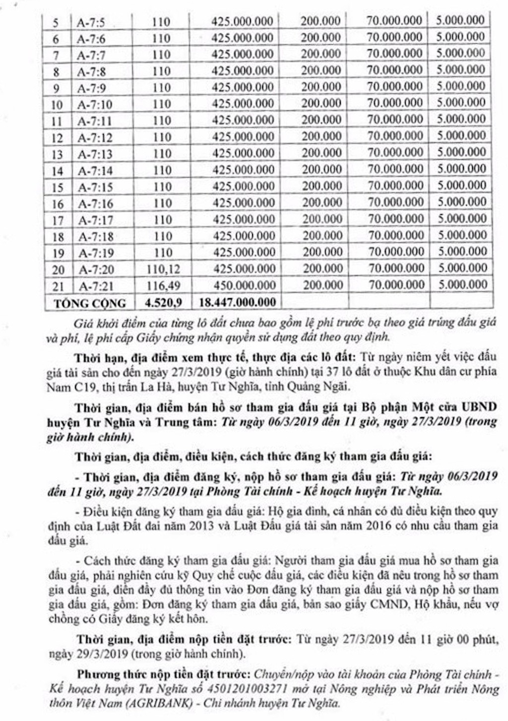 Ngày 30/3/2019, đấu giá quyền sử dụng 37 lô đất tại huyện Tư Nghĩa, tỉnh Quảng Ngãi - ảnh 2