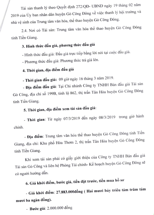 Ngày 22/3/2019, đấu giá hội trường của Trung tâm văn hóa huyện Gò Công Đông (tỉnh Tiền Giang) - ảnh 2