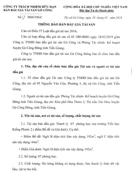 Ngày 16/3/2019, đấu giá 7 phòng học của Trường Tiểu học Kiểng Phước 2 (tỉnh Tiền Giang) - ảnh 1