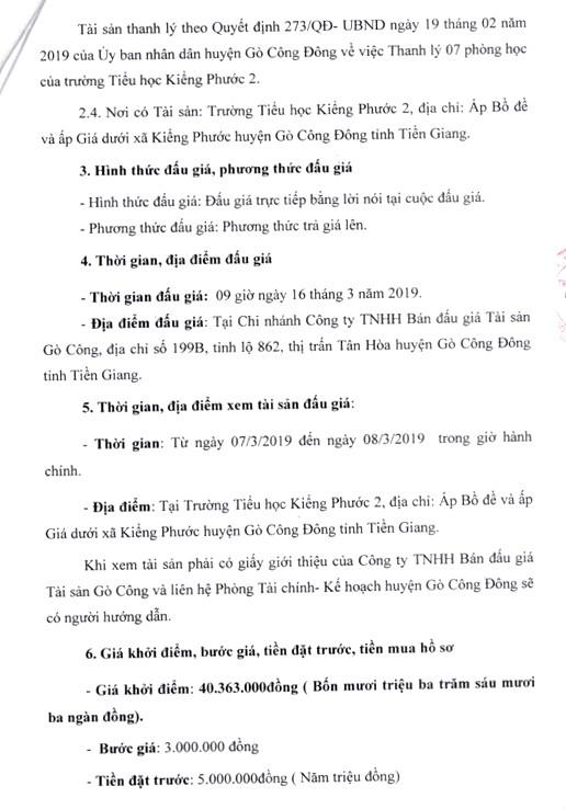 Ngày 16/3/2019, đấu giá 7 phòng học của Trường Tiểu học Kiểng Phước 2 (tỉnh Tiền Giang) - ảnh 2