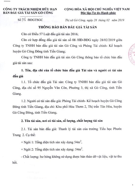 Ngày 16/3/2019, đấu giá tài sản của Trường Tiểu học Phước Trung 2 (tỉnh Tiền Giang) - ảnh 1