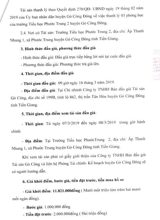 Ngày 16/3/2019, đấu giá tài sản của Trường Tiểu học Phước Trung 2 (tỉnh Tiền Giang) - ảnh 2
