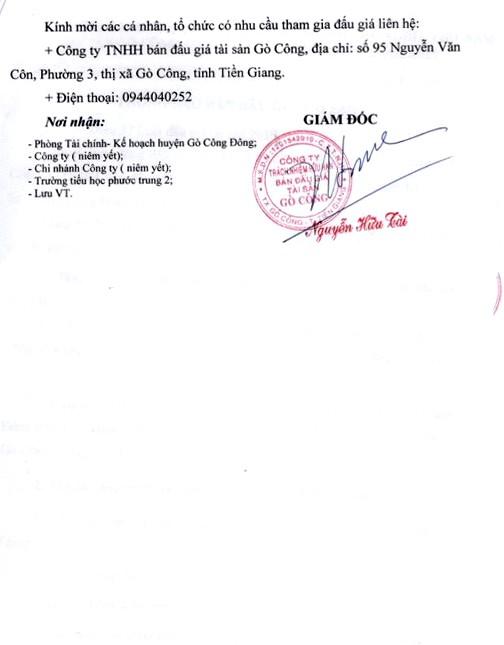 Ngày 16/3/2019, đấu giá tài sản của Trường Tiểu học Phước Trung 2 (tỉnh Tiền Giang) - ảnh 4