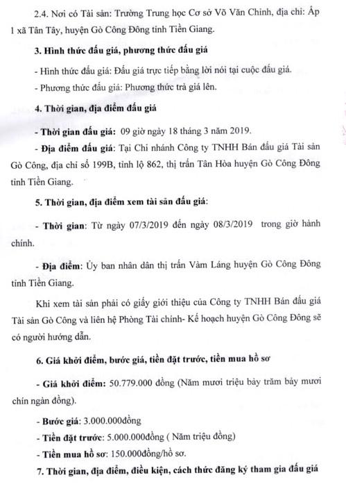 Ngày 18/3/2019, đấu giá 8 phòng học của Trường THCS Võ Văn Chính (tỉnh Tiền Giang) - ảnh 2
