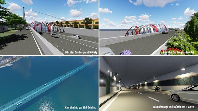 Phối cảnh hầm vượt biển xuyên vịnh Cửa Lục hơn 9 nghìn tỉ đồng (QTV)