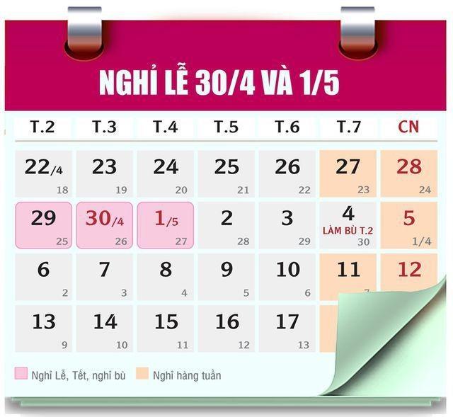 Dịp Giỗ Tổ Hùng Vương và Lễ 30/4, 1/5: Công chức, viên chức nghỉ 8 ngày - ảnh 2