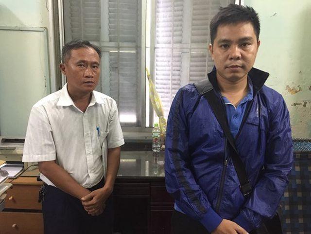 Mai Phước Việt (trái) và Lê Bảo Thành tại cơ quan điều tra.