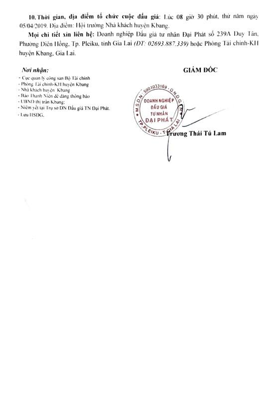 Ngày 5/4/2019, đấu giá quyền sử dụng đất tại huyện Kbang, tỉnh Gia Lai - ảnh 2