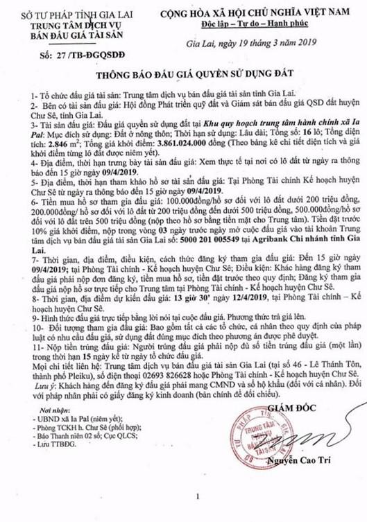 Ngày 12/4/2019, đấu giá quyền sử dụng đất tại huyện Chư Sê, tỉnh Gia Lai - ảnh 1