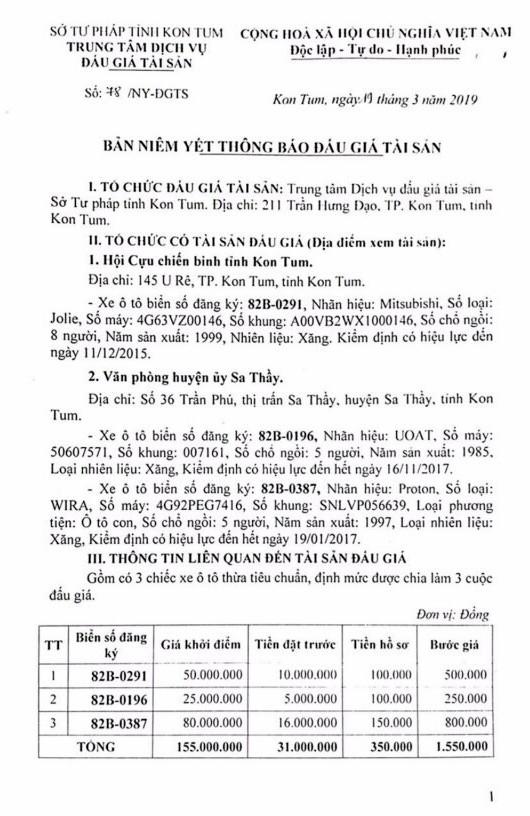Ngày 5/4/2019, đấu giá lô xe ô tô tại tỉnh Kon Tum - ảnh 1