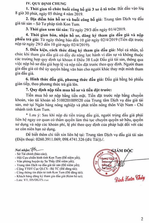 Ngày 5/4/2019, đấu giá lô xe ô tô tại tỉnh Kon Tum - ảnh 2