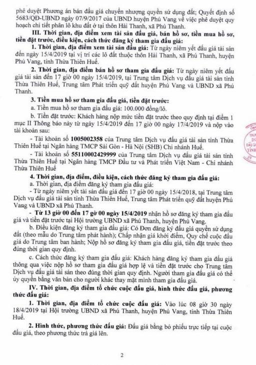 Ngày 18/4/2019, đấu giá quyền sử dụng đất tại huyện Phú Vang, tỉnh Thừa Thiên Huế - ảnh 2