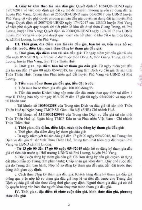Ngày 8/4/2019, đấu giá quyền sử dụng đất tại huyện Phú Vang, tỉnh Thừa Thiên Huế - ảnh 2