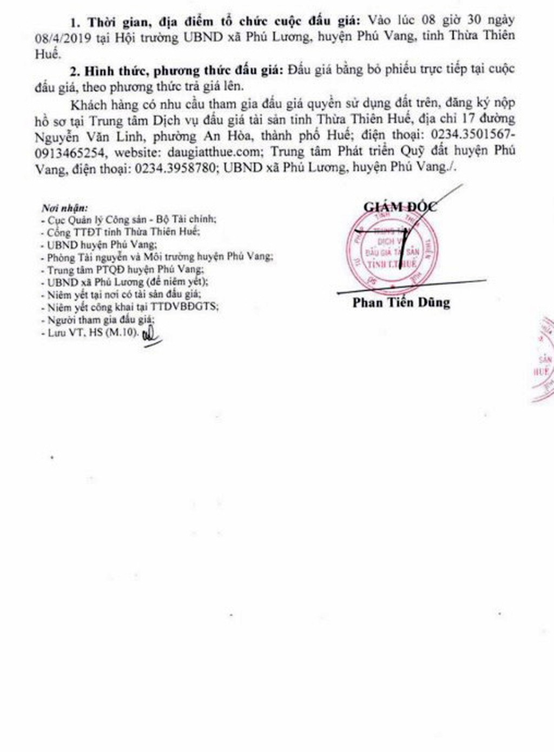 Ngày 8/4/2019, đấu giá quyền sử dụng đất tại huyện Phú Vang, tỉnh Thừa Thiên Huế - ảnh 3