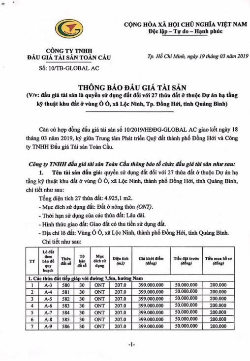 Ngày 9/4/2019, đấu giá quyền sử dụng 27 thửa đất tại thành phố Đồng Hới, tỉnh Quảng Bình - ảnh 1