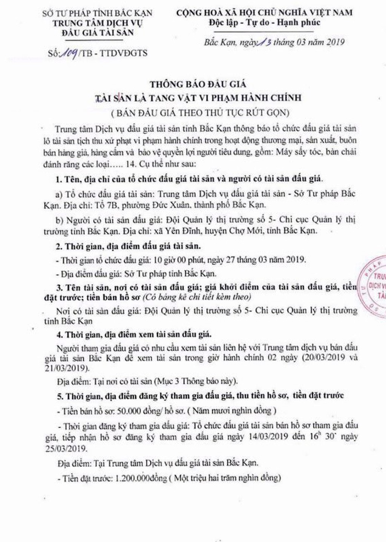 Ngày 27/3/2019, Đấu giá tang vật vi phạm hành chính tại tỉnh Bắc Kạn - ảnh 1