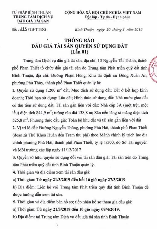 Ngày 12/4/2019, Đấu giá quyền sử dụng đất tại thành phố Phan Thiết, tỉnh Bình Thuận - ảnh 1